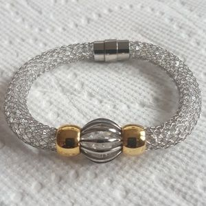 Jewelry - NEW - Silver & Gold Crystal Mesh Bracelet